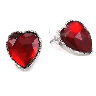 Valentine's Day Gift Red Heart Post Stud Earrings Silver Tone Jewelry Charm j1