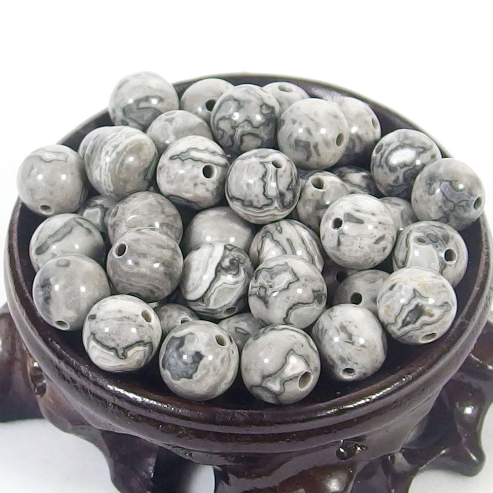 Bulk Gemstones I natural spacer stone beads 4mm 6mm 8mm 10mm 12mm jewelry design landscape jasper