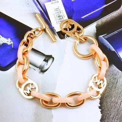 CLEARANCE!! NWDF Michael Kors Pink Toggle Link Chain Bracelet Rose Gold MKJ4328