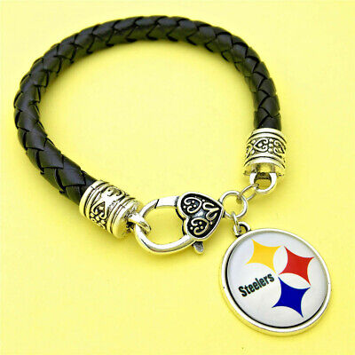 PITTSBURGH STEELER'S LEATHER BRACELET by COSTUME JEWELRY KING-NEW