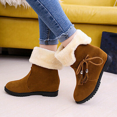 Bowknot Warm Women Flats Shoes Snow Ankle Boots Autumn Winter Shoes Fashion