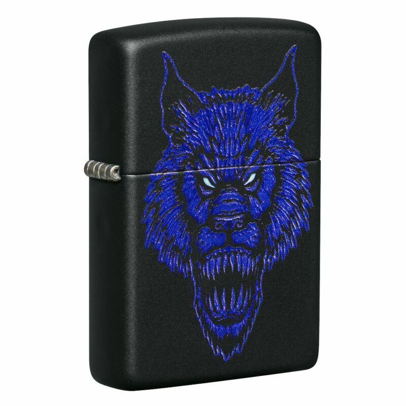 Zippo Werewolf Design Black Matte Pocket Lighter, 49414