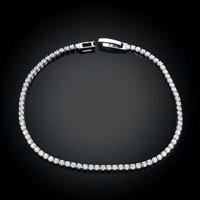 Silver Tennis Bracelet AAA Round Brilliant 3mm  Gems