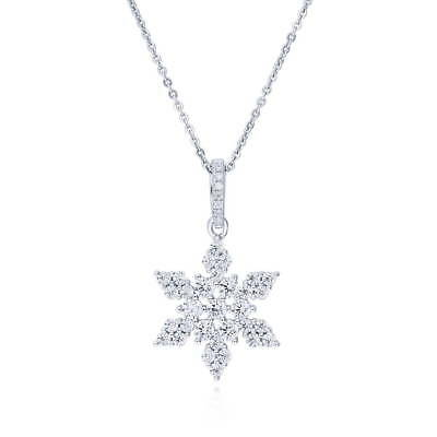 BERRICLE Sterling Silver CZ Snowflake Fashion Pendant Necklace