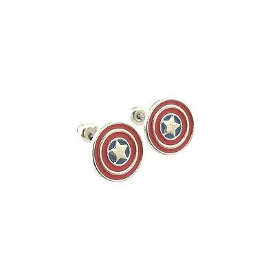 New Marvel Superhero Super Hero Captain America Shield Earrings W/Gift Box - Super Hero Females