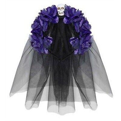 Dia De Los Muertos Halloween Headband With Purple Roses, Skull And Black Veil - Dia De Los Muertos And Halloween