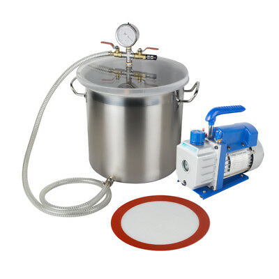 New 5gallon Stainless Steel Vacuum Degassing Chamber Silicone Kit3cfm Pump Hose
