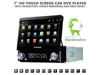 7 Inch Flip Out HD Android 6.0 Car Audio GPS Bluetooth Car Stereo With AM FM Radio DVD USB SD Aux