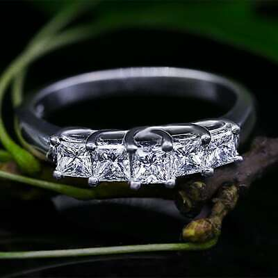 Used, Five Stone Engagement Ring 1.50ct Princess Cut Diamond 14k White Gold Finish for sale  Shipping to Canada