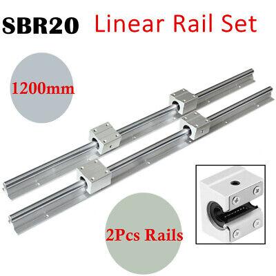 Sbr20-1200mm 20mm Linear Rail Slide Guide Rod 2x 4xsbr20uu Bearing Blocks New