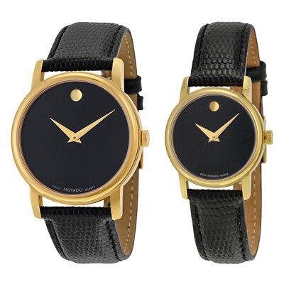 Movado Museum Black Dial Black Leather Watch - Choose gender