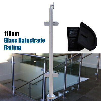 110cm Stainless Steel Balustrade Railing Posts Grade Glass Clamps Fencing 316