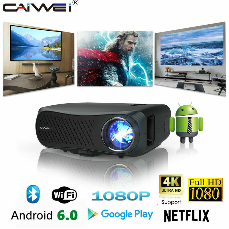 CAIWEI 8500lumen Android Projector Smart 10000:1 Native 1080P 4K 5G WIFI Youtube