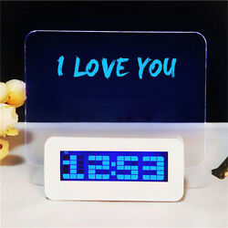 LCD Digital Alarm Clock with Message Board Desk USB Blue LED Fluorescent Clocks