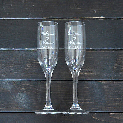 Personalized Toasting Glasses Set of 2 Bride and Groom Champagne Glasses Wedding - Personalized Champagne Glasses