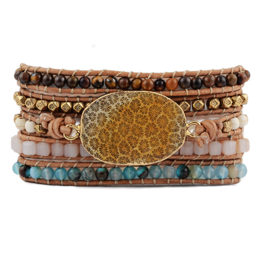 Details About Uni Retro Gold Natural C Fossil Chrysanthemum Beads Leather Wrap Bracelet