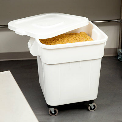 Bakers Mark 32 Gallon White Mobile Ingredient Storage Bin With Lid