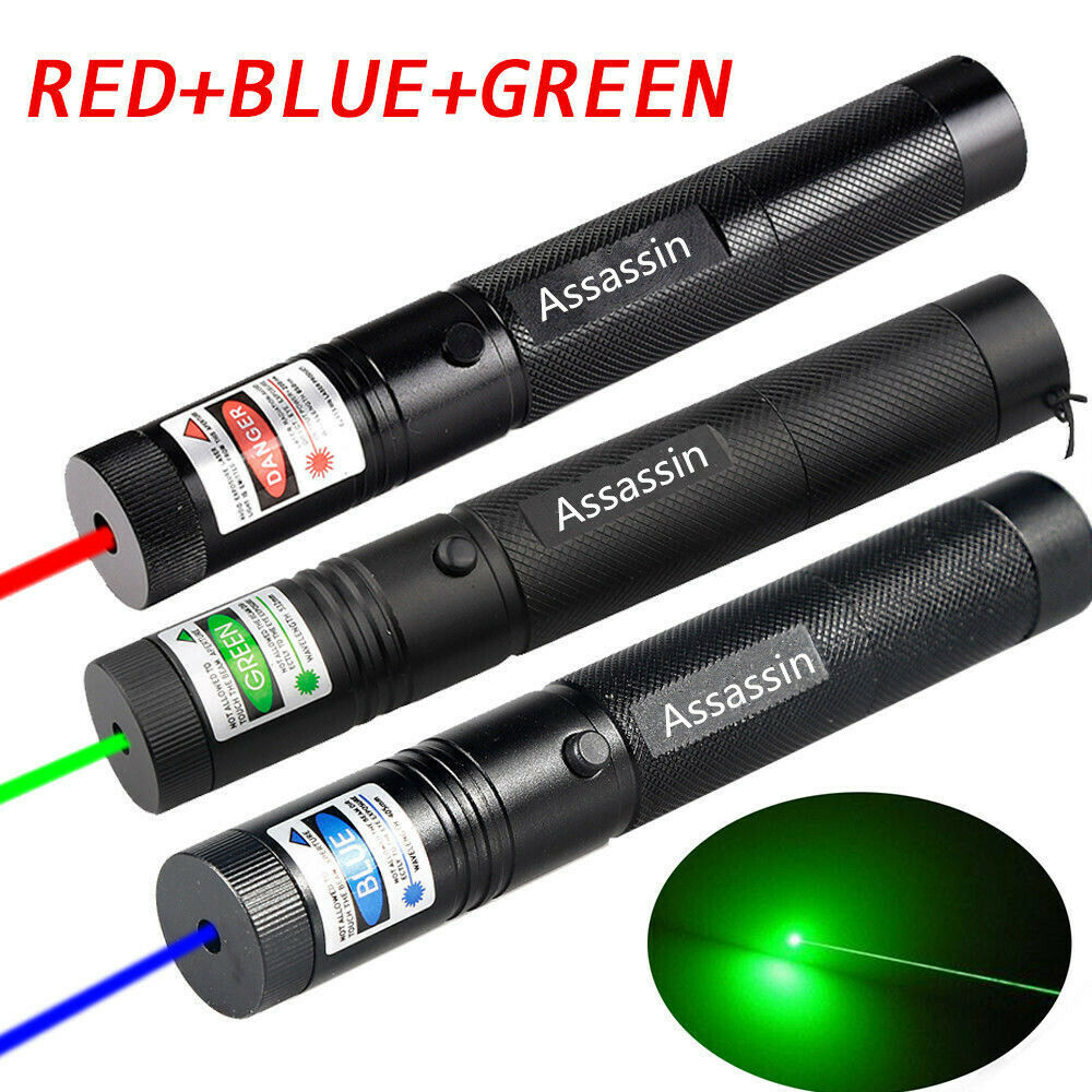 Adjustable Focus Red Green Purple Laser Pointer 405-650nm Rechargeable 18650