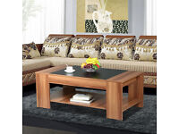 Tinkertonk - Modern Living Room 2 Tier Square Wood Coffee Table with Storage Shelves