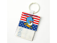 Vintage 80s Mickey Mouse Blue Telephone Book Keychain Disney Japan Dandy Mate