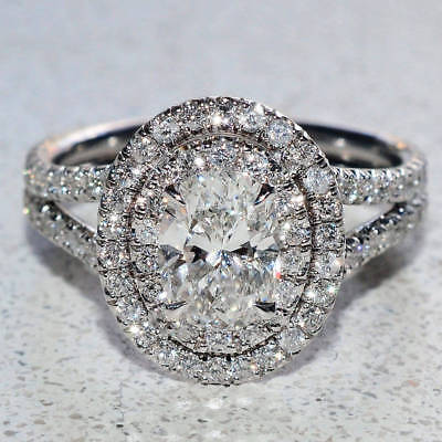 2.50Ct Oval-Cut Diamond Double Halo Promise Engagement Ring 10K White Gold Fn