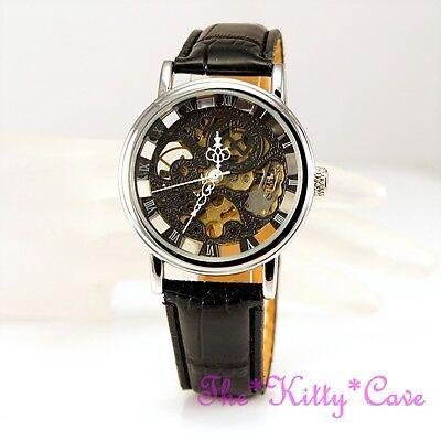Lujo Plata Patrimonio Steampunk Esqueleto Negro Cuero de Cuerda Mecánica Reloj