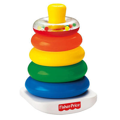 Fisher Price Classic Brilliant Basics Rock A Stack Baby Toy Rattle Ring Colors