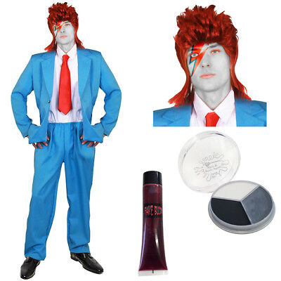 ADULTS DAVID BOWIE ZOMBIE COSTUME HALLOWEEN POP STAR ZIGGY STARDUST FANCY DRESS - David Bowie Costume Halloween