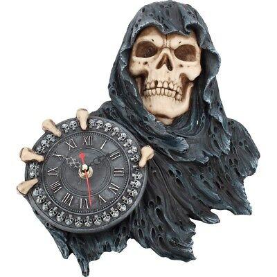 Nemesis Now Gesicht von Zeit Sensenmann Wanduhr Gothic Raum Dekor Fantasy 29.5cm
