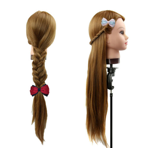 Salon Hairdressing Training head with 30% Long Human hair Mannequin Doll + Clamp