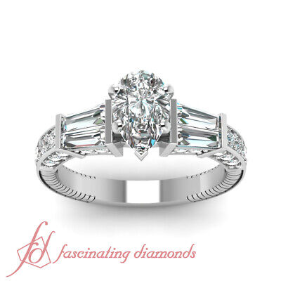 1.85 Ct Pear Shaped Diamond Engraved Engagement Ring Pave Set In White Gold GIA 1