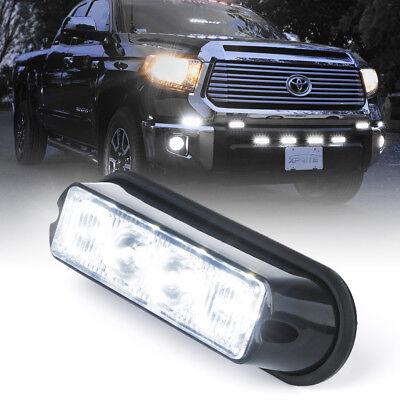 White 4 Led Grille Deck Mounted Vehicle Side Marker Warning Strobe Light Pod