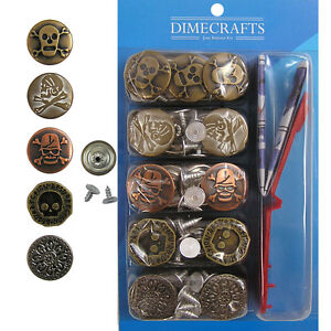 Popular 17 mm or 20 mm No-Sew Jean Tack Buttons Assorted Set of 50 w/Setter Tool