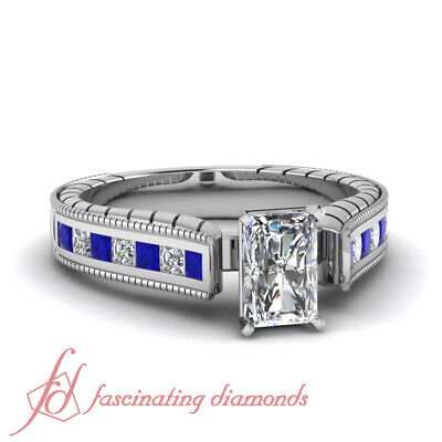 1.65 Ct Radiant Cut Diamond & Princess Blue Sapphire Channel Engagement Ring GIA