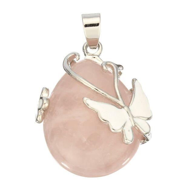 Teardrop Rose Quartz Gemstone Pendant Bead Butterfly Pink S9
