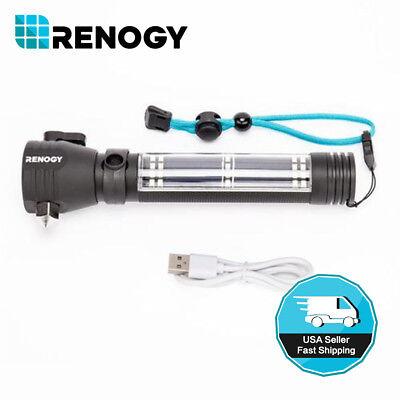 Renogy E.LUMEN Solar Power LED Flashlight Rechargeable Torch USB Charger Compass