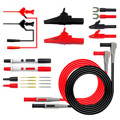 22pc Electrical Multimeter Test Lead Kit With Alligator Clips Test Probe Plug Us