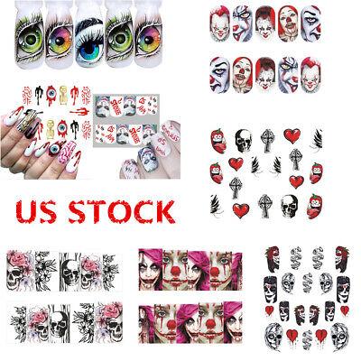 Halloween Eyes Nail Art (8Styles Nail Art Stickers Water Decals Decor Cartoon Halloween Clown Blood)