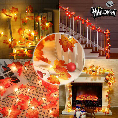 10 LED Maple Leaves Fall Garland String Light Decor Halloween Christmas US NICE