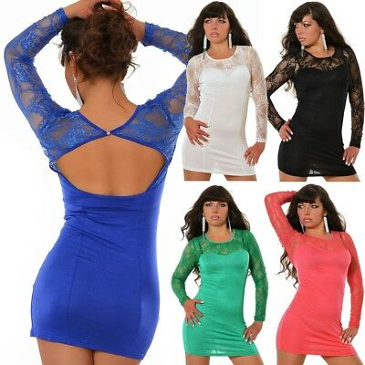 Damen Mini Kleid Abendkleid Etuikleid Tunika Spitze Ballkleid Partykleid #559