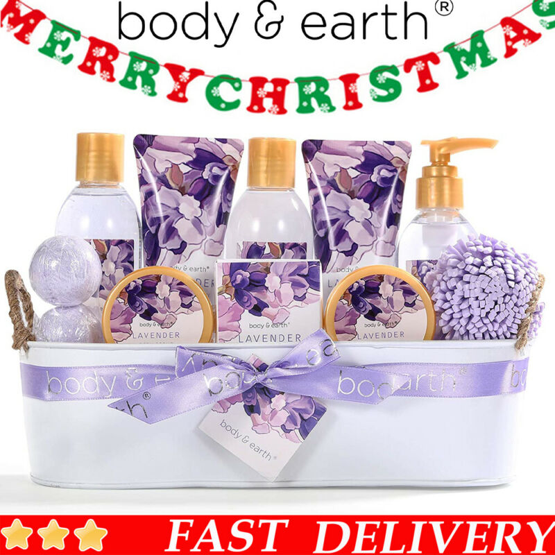 12 Pcs Lavender Bath Spa Gift Basket for Women , Home Spa Bath Gifts Set for Her