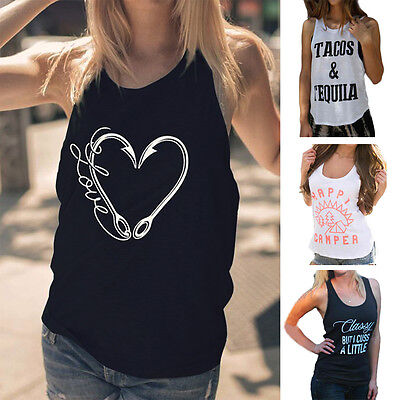 Womens Summer Letter Print Sleeveless Tank Tops Casual Simple Sport Daily Vest