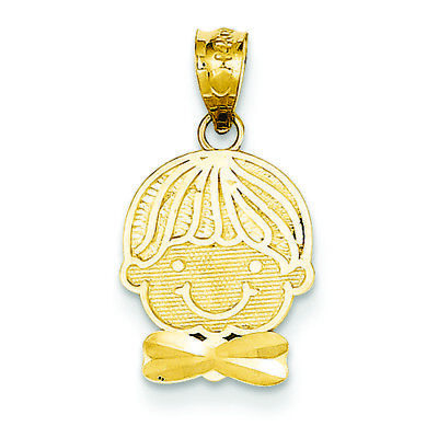- 14K Yellow Gold Boy Head with Bow Tie Charm Pendant MSRP $171