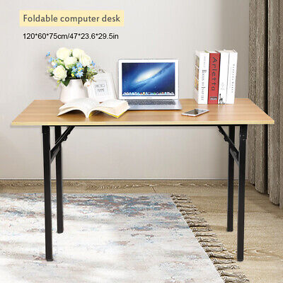 Folding Computer Desk Foldable Laptop PC Study Coffee Table Wooden Home Office