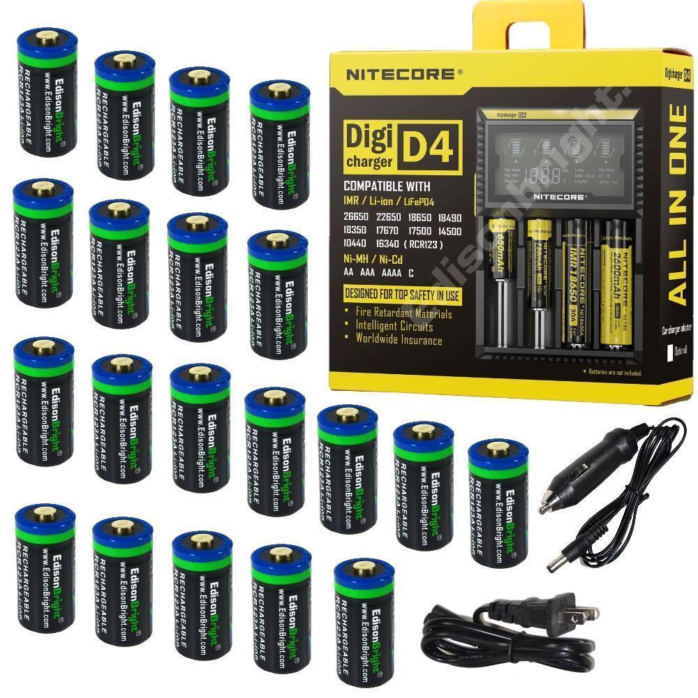 20 Pack Li-ion RCR123A/16340 rechargeable batteries w/