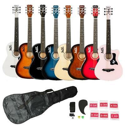 8 Color Basswood Cutaway Acoustic Guitar w/Bag String Pick Strap for Beginner