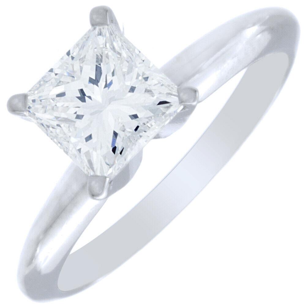 GIA Certified Natural Diamond Engagement Solitaire Ring 0.50 Carat Princess VS1  4