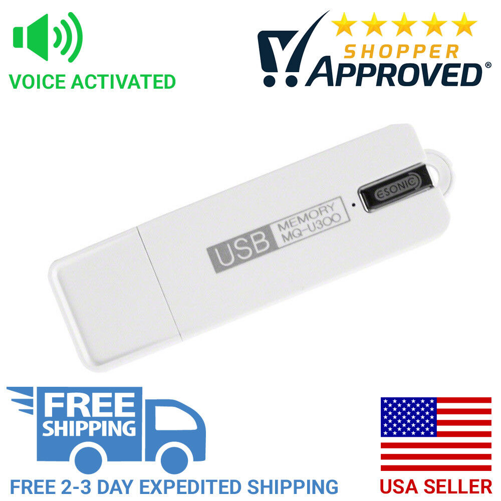 Voice Activated USB Flash Drive Voice Recorder and 25 Day Standby Life (White)