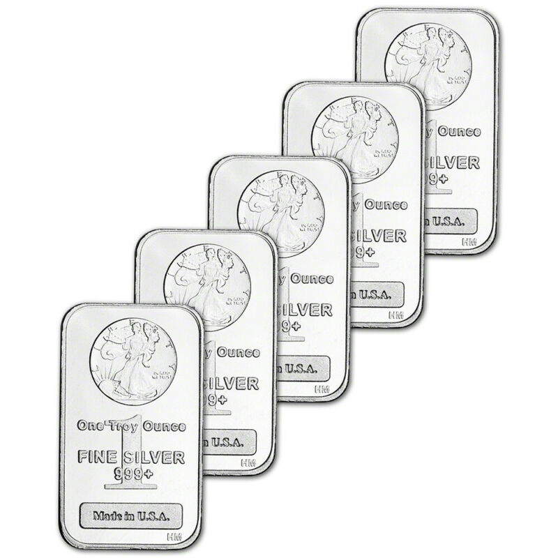 FIVE (5) 1 oz. Highland Mint Silver Bar - Walking Liberty Design .999+ Fine