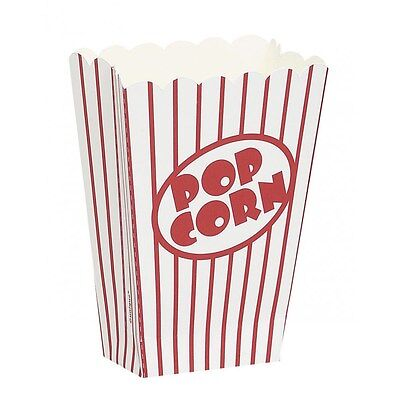 8 Popcorn Party Treat Boxes Hollywood Retro Theme Red and White Stripe Favours - Hollywood Theme Party Favors